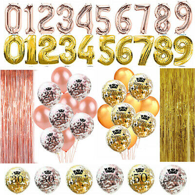 Rose Gold 18/21st/30/40/50/60/70th Happy Birthday Confetti Number Balloons Party