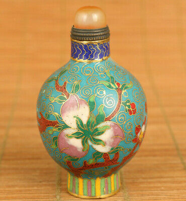 Chinese rare old cloisonne hand painting flower statue snuff bottle noble Gift