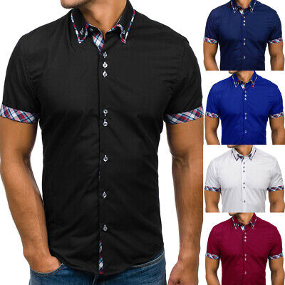 UK Mens Slim Fit Short Sleeve T-Shirt Solid Casual Shirt Tops Blouse Muscle Tees