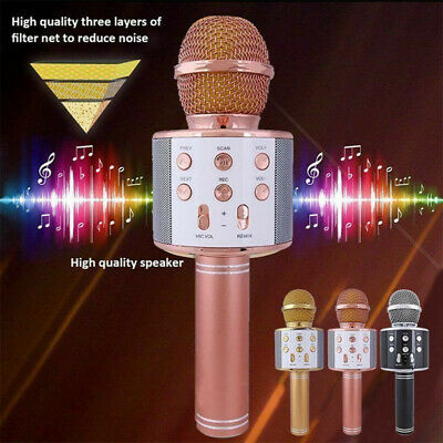 UK Karaoke Microphone Wireless bluetooth Handheld Mic KTV USB Speaker Player
