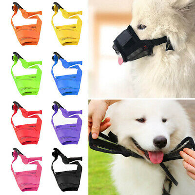 UK Dog Safety Muzzle Adjustable Mesh Mask Biting Barking Chewing S/M Size Solid