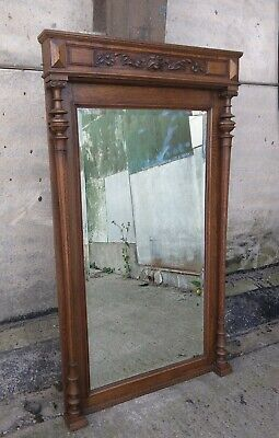Large Antique Flemish Solid Oak Mechels Floor or Wall Mirror, Hand Carved, Lion