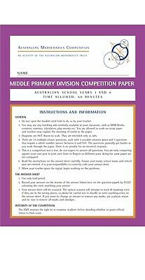 Australian Mathematics Competition AMC Past Papers Year 3 And 4 ...15 papers