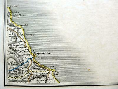 YORKSHIRE SCARBOROUGH  ROBIN HOODS BAY  BY JOHN CARY GENUINE ANTIQUE MAP  c1824