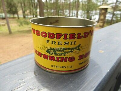 Woodfield's Fresh Herring Roe Advertising Tin Container With Graphic Fish