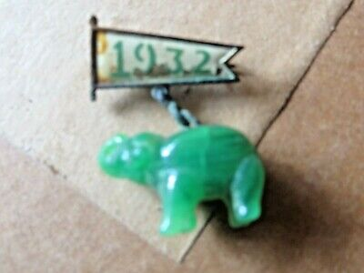 1932 political republican pin  green jade elephant extremely scarce rare pin