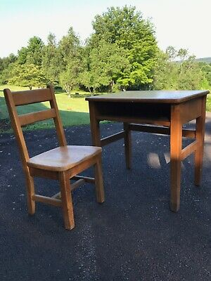 Vintage wooden student desk and chair, perfect for childs room.