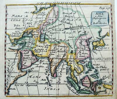 ASIA  BY ROBERT MORDEN  c1704 GENUINE ANTIQUE COPPER ENGRAVED MAP
