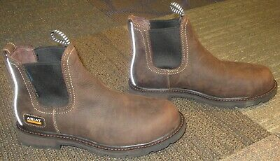 809ef6a70d9 MENS ARIAT GROUNDBREAKER Round Toe Steel Toe H2O Leather Work Boots ...