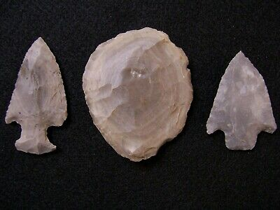 Three Authentic Middle Woodland Cobden Chert Artifacts From The Grizzell Collec.