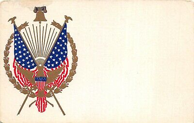 WWI Era c1917 Patriotic Military Postcard Eagle Shield Flags Gold Wreath Bell