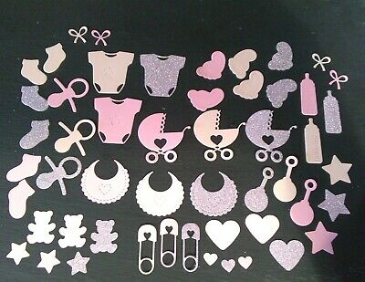 50 Pink  Girl Mixed Baby Shower Confetti Table Sprinkles Decorations Glitter