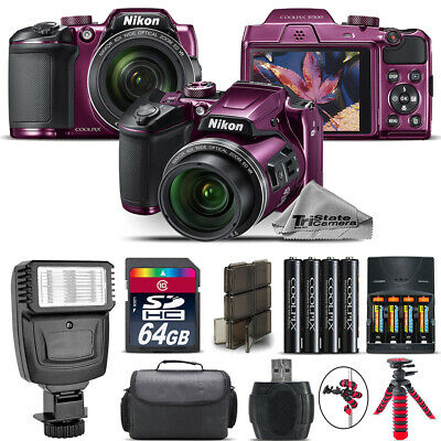 Nikon COOLPIX B500 Plum Camera 40x Optical Zoom + Flash + Case - 64GB Kit Bundle