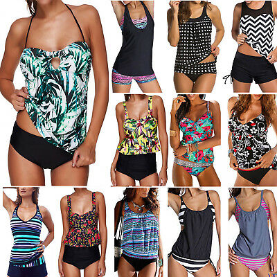 Women Tankini Sporty Shorts 2Pcs Bikini Set Swimwear Swimsuit Bathing Suit Beach