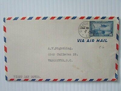 1938 Canada Airmail envelope with #C6 FDC Ottawa to Vancouver F-VF