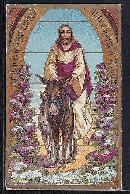 Antique Vintage Postcard Religious Christmas Christ on Donkey Postmarked 1910