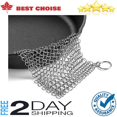 The Ringer Stainless Steel Chainmail Cast Iron Skillet Cleaner Xl 8 X 6 Inch New