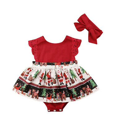 Christmas Santa Newborn Baby Girls Red Lace Xmas Party One Piece Romper Dress