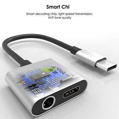 2 In1 USB C Type-C to 3.5mm Headphone Jack Adapter AUX & Sync Data Charge Cable