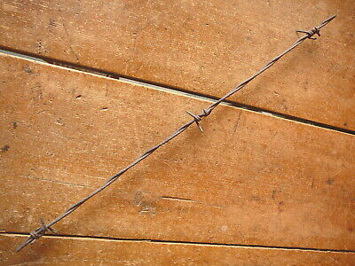 MERRILLS LONG FOUR POINT TWIRL BARB on TWO  TWISTED LINES - ANTIQUE BARBED WIRE