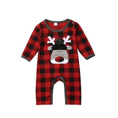 US Christmas Newborn Baby Girl Boy Clothes Deer Romper Bodysuit Jumpsuit Outfits