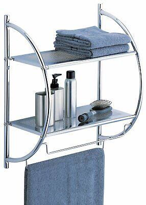 Organize It All 1753W-B Wall Mount 2 Tier Chrome Bathroom Shelf with Towel Bars
