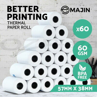 Emajin 60 Bulk Thermal Paper Rolls 57x38mm Cash Register Receipt Roll Eftpos