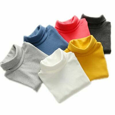 Turtleneck Children Sweaters With 10 Solid Colors Knitted Covered Buttons Unisex