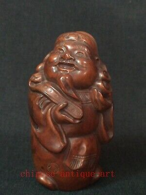 Collection Ancient Chinese Boxwood Hand Carved God of Wealth Statue Decoration