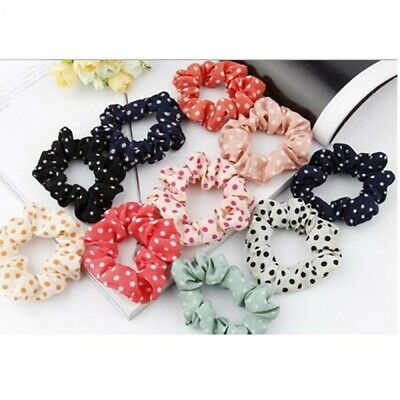 Women Girls Elastic Polka Dot Print Hair Band Rope Scrunchie Ponytail Holder Bu