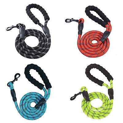 5 FT Service Dog Rope Leash Lead Training Padded Handle Reflective Nylon Puppy
