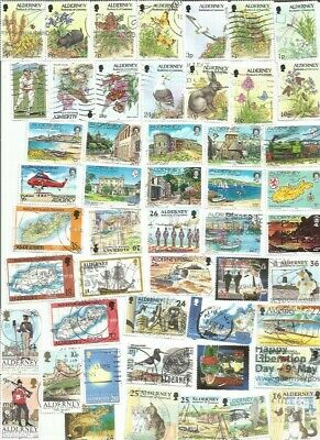 50 Different Alderney Stamps ( Channel Isles ) Used. Lovely Lot Free Post