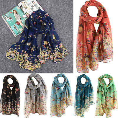 Women Long Shawl Warm Wrap Shawl Scarves Floral Bird Printed Elegant Scarf NEW