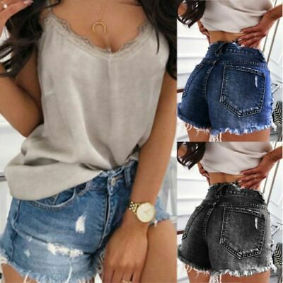 Tassels Ripped Denim Hot Pants Womens High Waist Short Jeans Shorts Trousers UK
