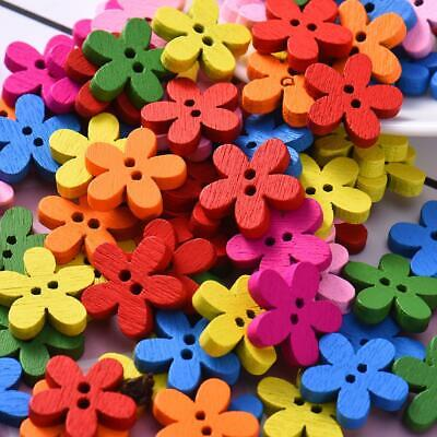 Multicolor Plum Blossom Wooden Buttons 100PCS/Package 2 Holes Decorative Buttons