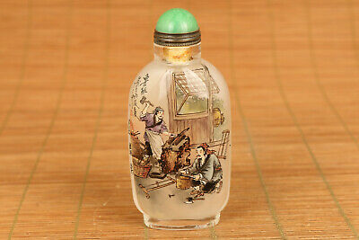 chinese old glass hand painting luban statue snuff bottle