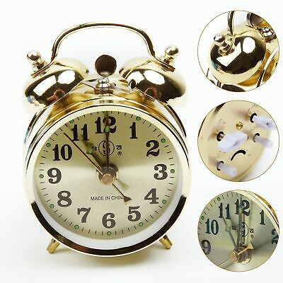 Gold Mechanical Alarm Clock Wind Up Vintage Metal Table Home Decorations Retro
