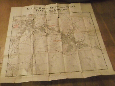 1912 Huge Map Of Stoke Upon Trent , Fenton And Longton