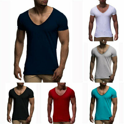 Mens Short Sleeve T-Shirt Gym Casual Top Muscle Tops Sport V Neck Fitness Tee