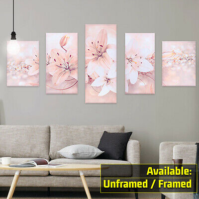 5Pcs Modern Abstract Flowers Canvas Print Painting Wall Art Picture Home Decor