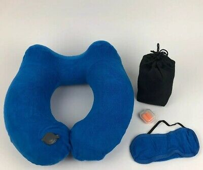 Inflatable Travel Pillow- Blue Polar Fleece Travel Neck Pillow