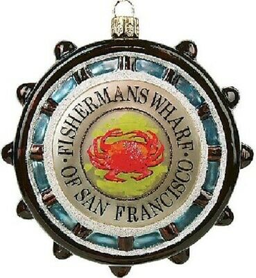 Fishermans Wharf San Francisco California Polish Glass Christmas Ornament