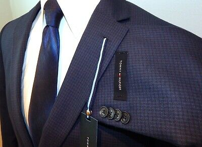 Tommy Hilfiger Mens Sport Coat Two Button Wool Bend Navy Blue Check Trim Fit 40R