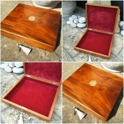 Terrific 19C Antique Solid Mahogany Document/Jewellery Box - Fab Interior