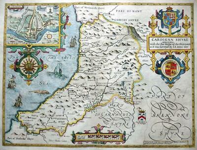 CARDIGANSHIRE CARDIGAN BY JOHN SPEED c1676 GENUINE ANTIQUE COPPER ENGRAVED MAP