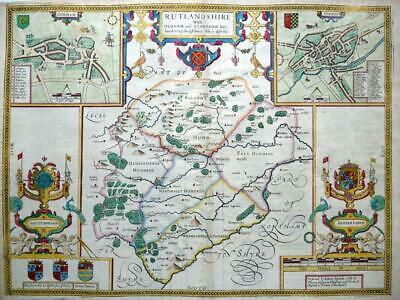 RUTLANDSHIRE STAMFORD OAKHAM  BY JOHN SPEED c1676 GENUINE ANTIQUE ENGRAVED MAP