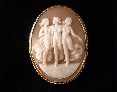 VICTORIAN CAMEO BROOCH PIN OF THE 3 GRACES MUSES IN  9ct GOLD MOUNT GRAND TOUR