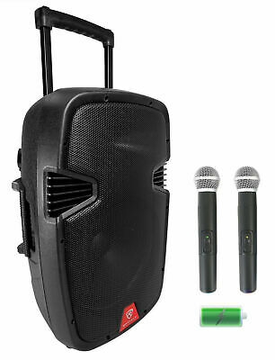 "Rockville RAM12BT 12"" Rechargeable Powered 600W DJ PA Speaker, 2 Mics, Bluetooth"