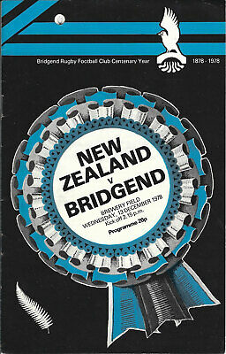 Bridgend v New Zealand All Blacks 13 Dec 1978 RUGBY PROGRAMME