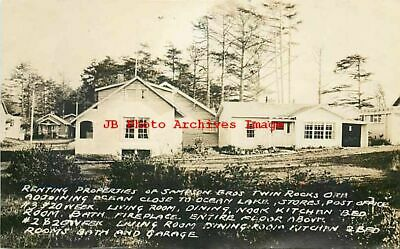 OR, Twin Rocks, Oregon, RPPC, Sampson Brothers Cabins, Ocean Lake Area